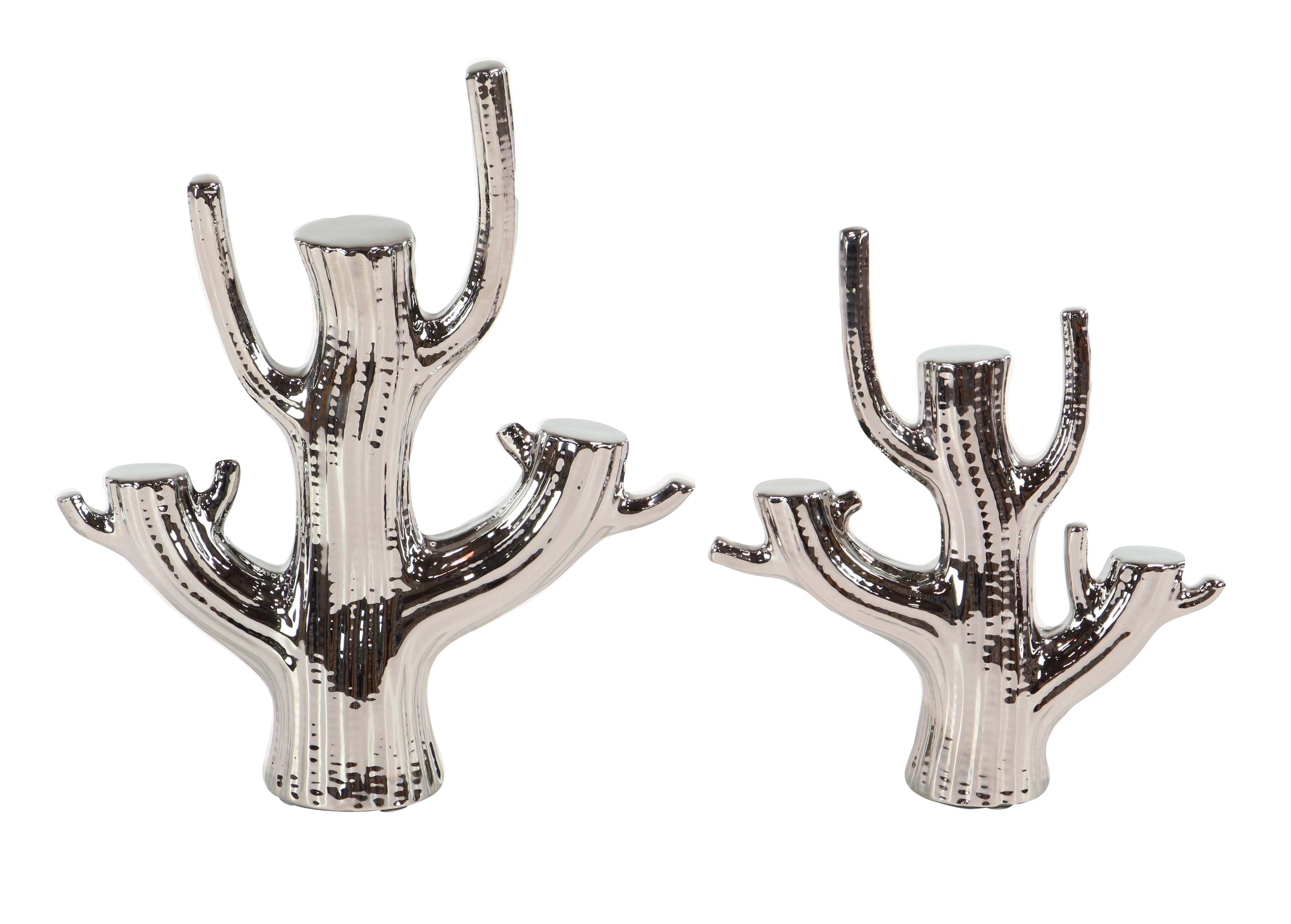 Decmode Set of 2 Modern Ceramic Silver Cactus Sculptures, Silver by DecMode