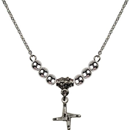 18 Inch Rhodium Plated Necklace With 4Mm Sterling Silver Beads And Saint Brigid Cross Charm