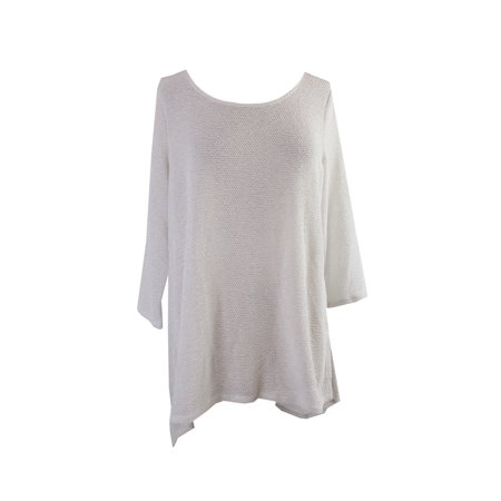 Alfani White Metallic 3/4-Sleeve Textured Tunic Sweater XL