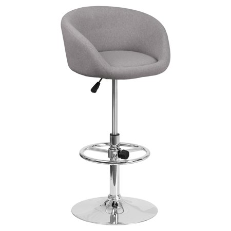 Logo Fabric Bar Stool - Flash Furniture Contemporary Rounded Back Fabric Adjustable Barstool with Chrome Base