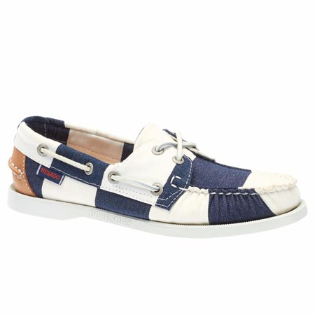 Sebago® Women's  Spinnaker Boat Shoes Navy White Stripe Canvas 5.5