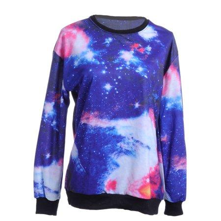 Galaxy Wool Sweater - Womens Multicolor Galaxy Space Stars Long Sleeve Sweater Purple Swe...