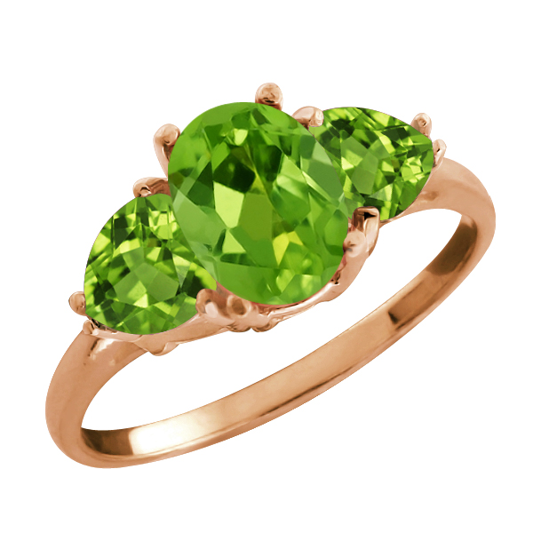 2.11 Ct Oval Green Peridot Gemstone Gold Plated Sterling Silver Ring