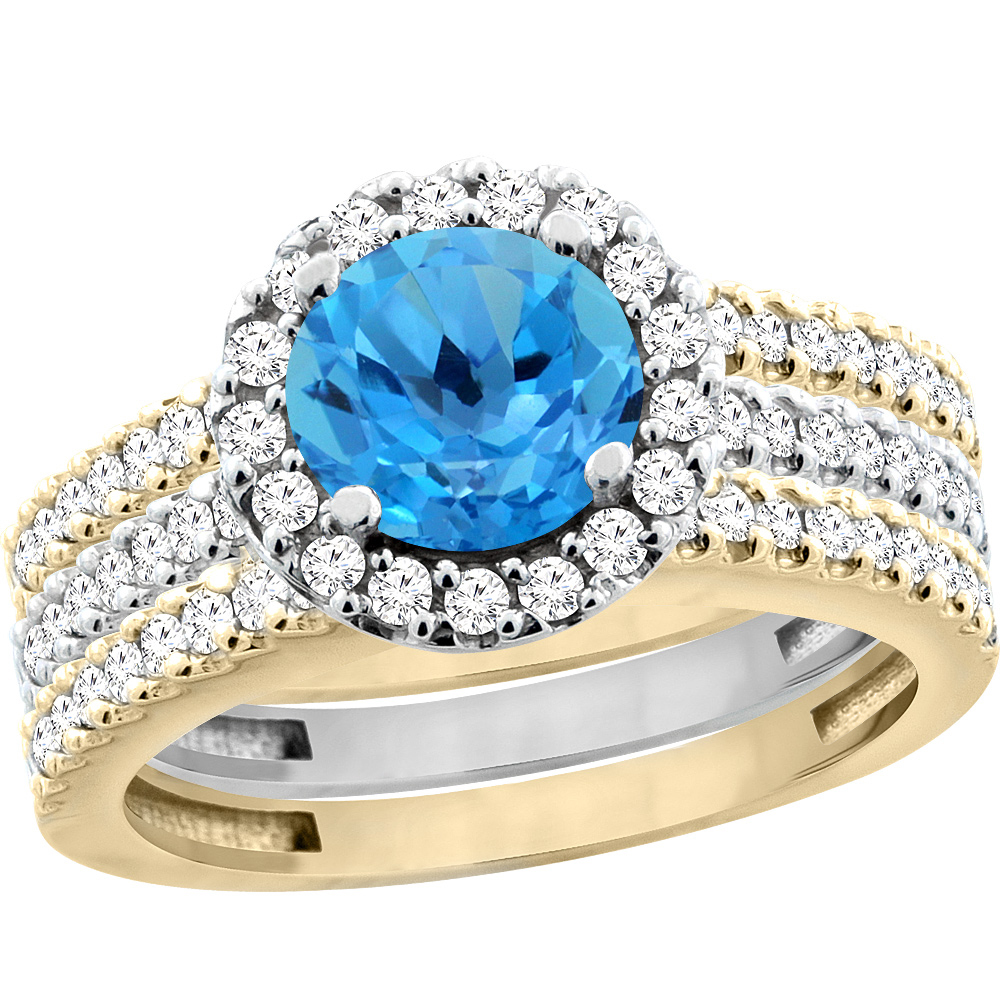 10K Gold Natural Swiss Blue Topaz 3-Piece Ring Set Two-tone Round 6mm Halo Diamond, size 7 by Gabriella Gold