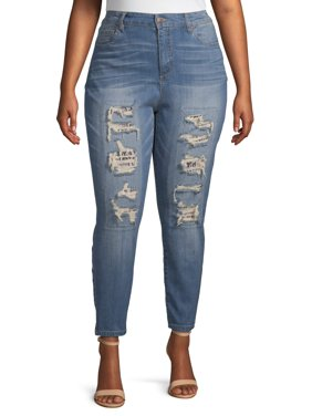 Dollhouse Juniors' Plus Size Rip and Repair Snake Jean