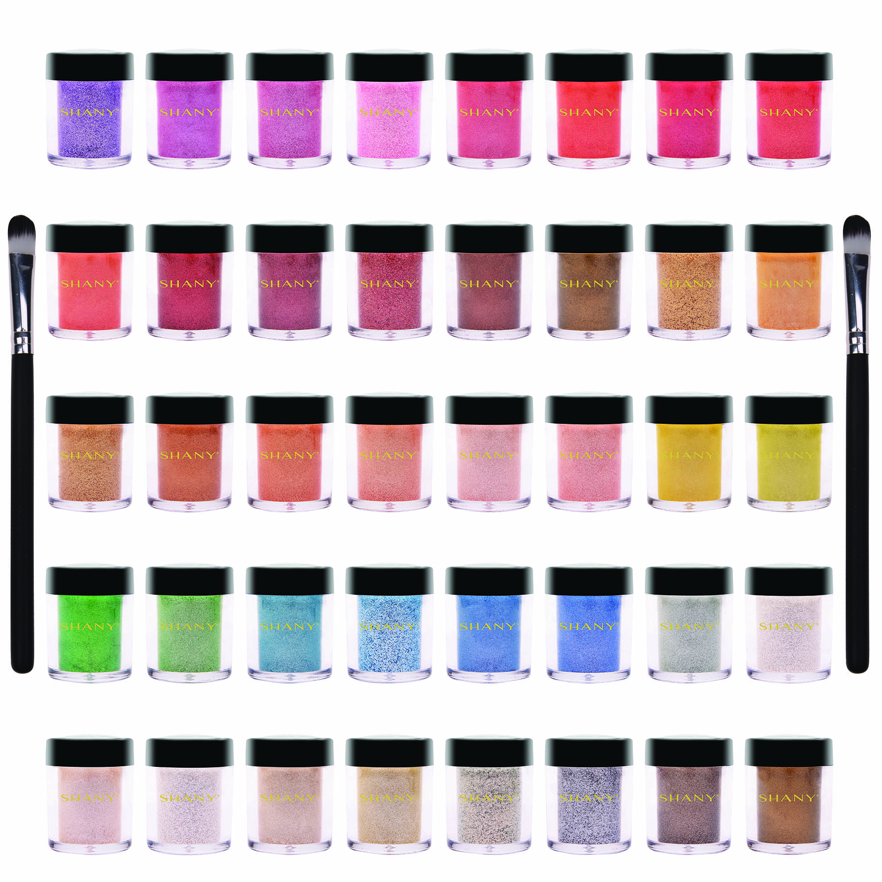 SHANY Loose Pearl Eye Shadow Glitter with Two Shadow Brushes, 42 pc