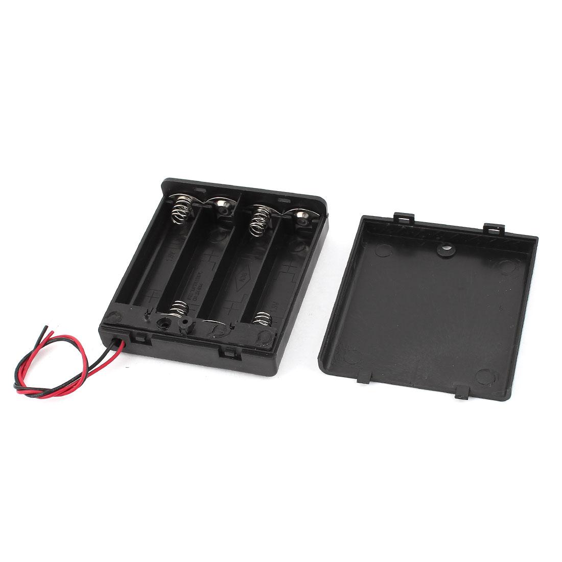 Black Plastic 15cm Leads Switch 4x 1.5V AA Battery Box Case Holder - image 2 of 2