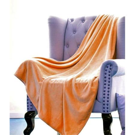 "ULTRA SOFT THROW ORANGE, Microlight Plush Solid Fleece Small Throw Blanket 50"" x 60"""