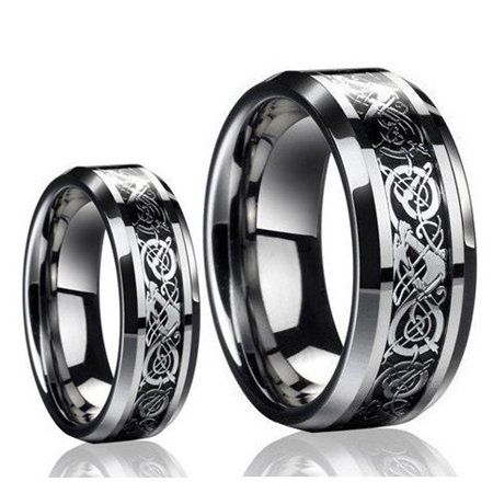 Inlay Tungsten Wedding Band - For Him & Her 8MM/6MM Tungsten Carbide Celtic Dragon Inlay Wedding Band Ring Set