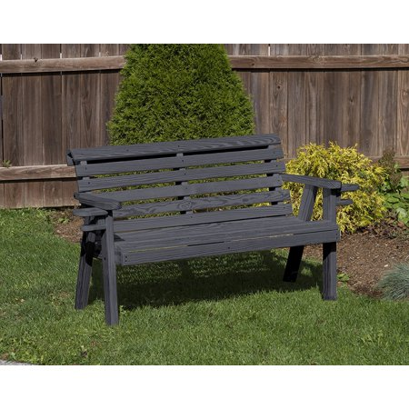 Stupendous Outdoor Patio Garden Lawn Exterior 5 Ft Black Finish Amish Heavy Duty 800 Lb Roll Back Kiln Dried Pine Bench With Cup Holders Ncnpc Chair Design For Home Ncnpcorg