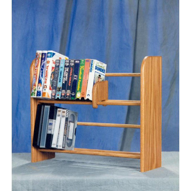 The Wood Shed Solid Oak 2 Row Dowel DVD   VHS Media Rack by The Wood Shed