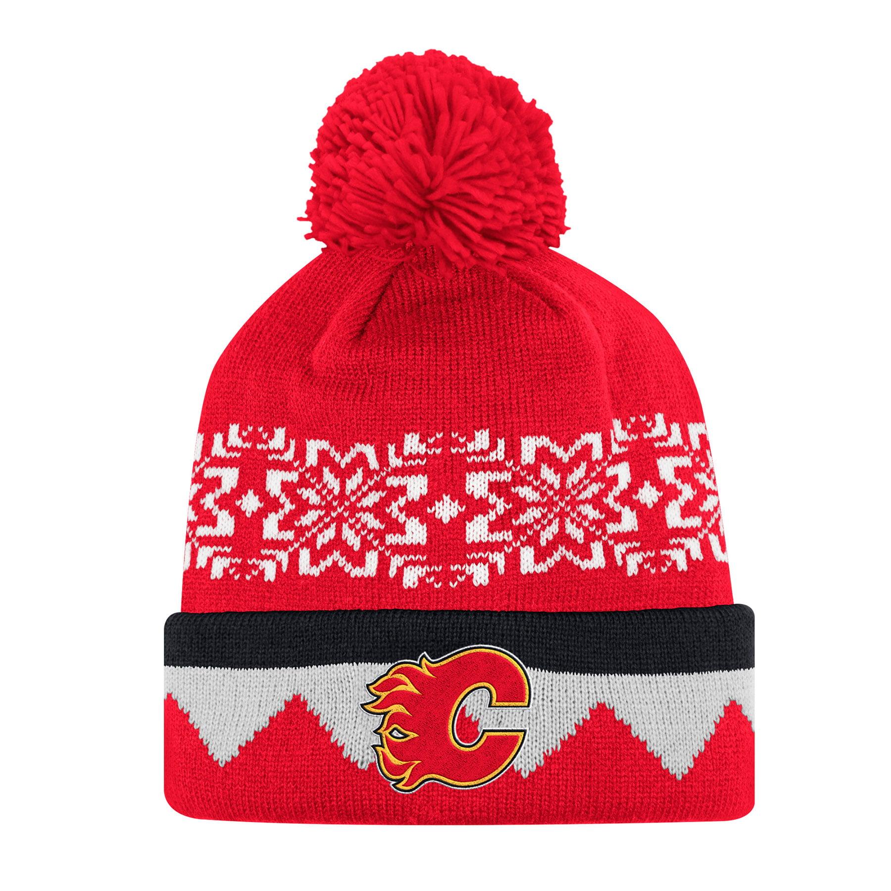 Calgary Flames Adidas NHL Snowflake Cuffed Pom Knit Hat 514002a572f