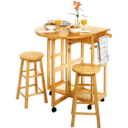 Spacesaver 3 Piece Round Breakfast Set, Natural