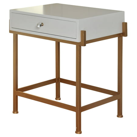 1 Drawer Side Table - Antique Gold - White Lacquer Top ()