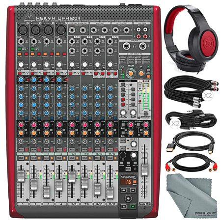 behringer xenyx ufx1204 premium 12 input 4 bus mixer with samson headphones and assorted cables. Black Bedroom Furniture Sets. Home Design Ideas