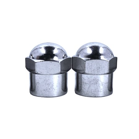 Pair of 2 Chrome Hex Dome metal valve caps for cars, bicycles and trucks