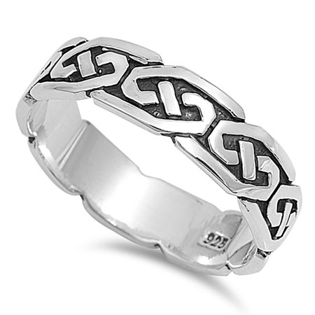 Men Women Sterling Silver Celtic Ring 5mm ( Size 4 to -