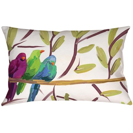 "18"" Outdoor Deck and Patio Flocked Together Birds Rectangular Throw Pillow"