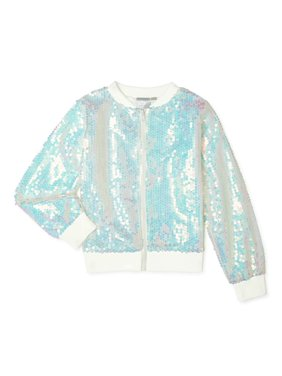 Frozen Girls Iridescent Sequin Bomber Jacket, Sizes 4-16