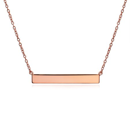 Gold Plated Rose Cross (Thin Sideways Flat Bar Name Plate Style Necklace Women Gold Plated Silver, Rose Gold Plated Silver Or Sterling Silver )