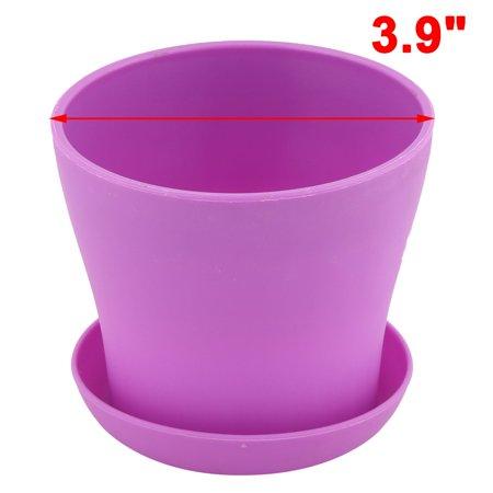 Desktop Plastic Round Flower Plant Succulent Seeds Pot Container Holder Purple - image 1 de 4