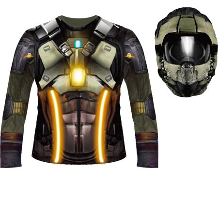 Fortnite Inspired Child Sublimated Costume Shirt & Hood - Dark Voyager - Small (Green Arrow Costume For Kids)