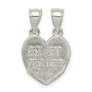 FB Jewels Sterling Silver Polished Mini Best Friends Break Away Heart Pendant