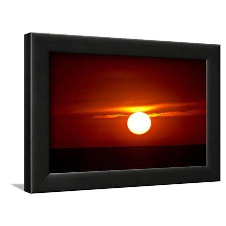 Black And White Beach Ball (Florida, Siesta Key, Crescent Beach, Ball of Fire in a Red Sunset Framed Print Wall Art By Bernard)