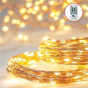 Commercial Grade Deluxe 78ft Fairy Star String Light Set - Flexible and Extendable Warm White Twinkling LED Copper Wire Lighting with Remote Control - Indoor Outdoor Add A Decorative Touch Anywhere