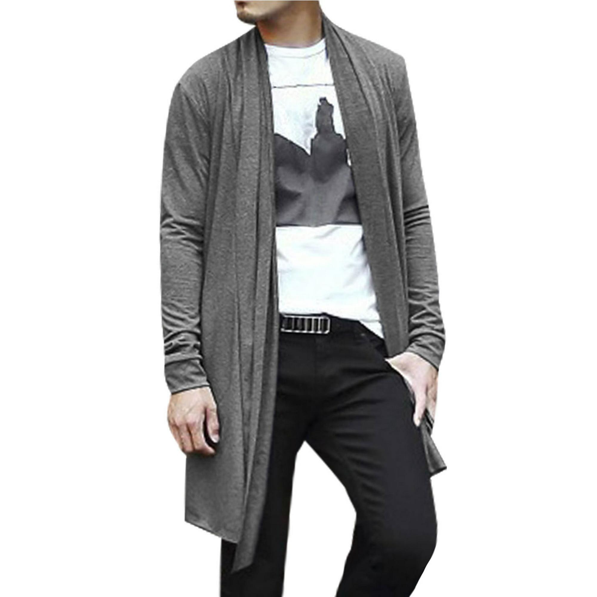Men Open Front Long Sleeve High Low Hem Long Cardigans Gray L