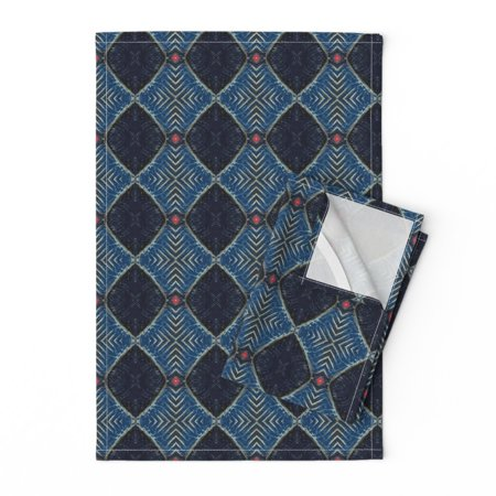 Wood Cut Blue Art Deco Geometric Linen Cotton Tea Towels by Roostery Set of 2