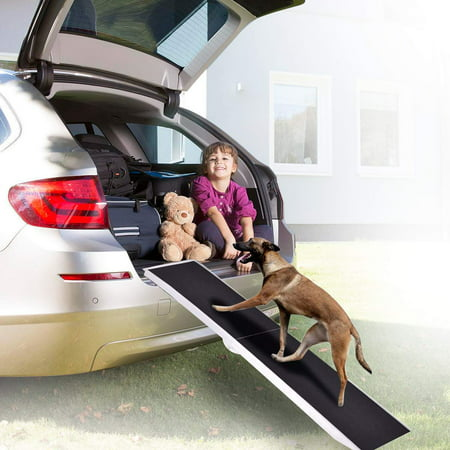 ELECWISH 8FT Pet Ramp Portable Folding Aluminum Paw Safe Dog Ramp Support Up to 250lbs for Cars Vans SUVs and Trucks