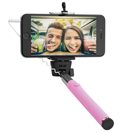 "Circuit City Wired Extendable Selfie Stick with Remote Control Handle Extra-Long 42"" Extending Monopod with Lanyard Steel Telescoping Phone Holder for iPhone 6, 5, 4, Samsung S6, S5 & More (Pink) Remote Lanyard Replacement"