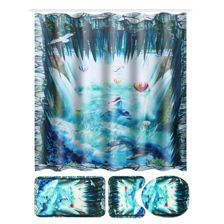 4pcs Bathroom Shower Curtain Set with Toilet Lid Cover Bath Room Floor Mats Pedestal Rug For Home Hotel Christmas Decor Waterproof