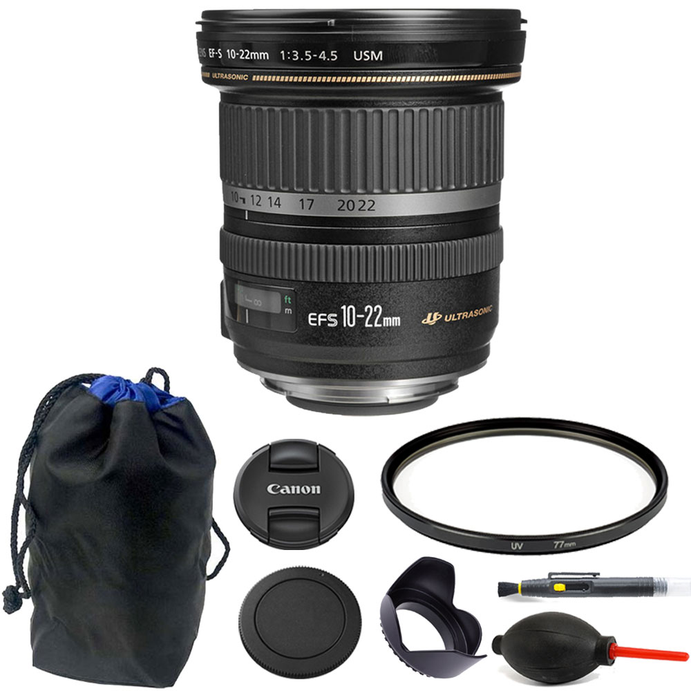 Canon EF-S 10-22mm f/3.5-4.5 USM Lens 77mm Kit for Canon ...