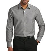 Mens Upscale Slim-Fit Oxford Dress Shirt - Black, 2XL