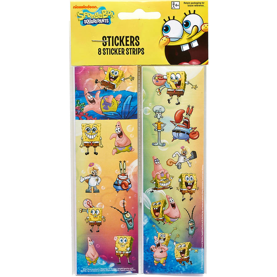 SpongeBob SquarePants Sticker Sheets, 8 Count, Party Supplies