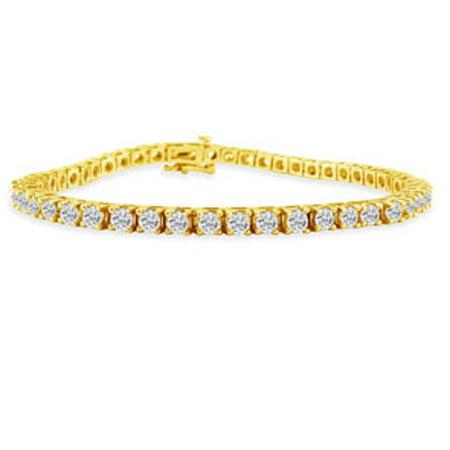 6 Carat Genuine Diamond Tennis Bracelet In 14k Yellow Gold