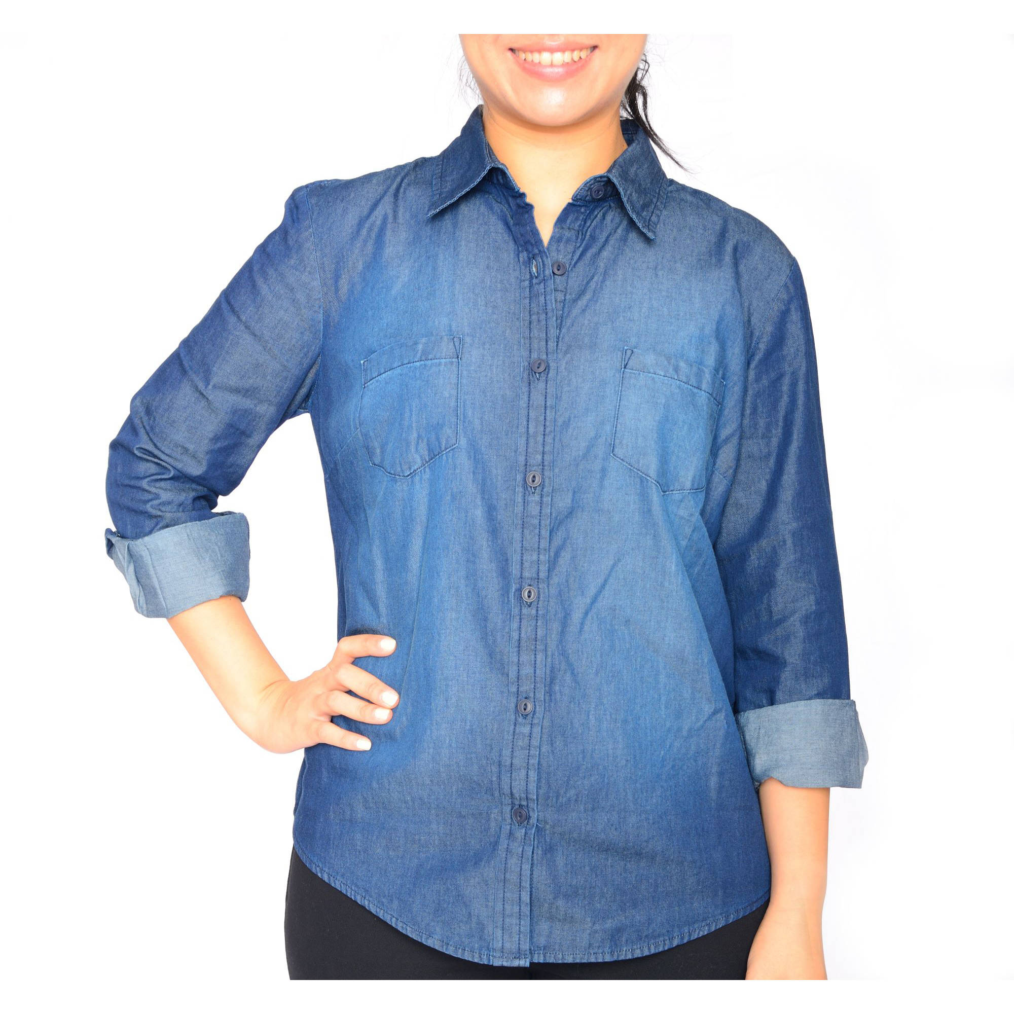 Faded Glory Women's Button Front Denim Shirt