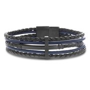 Mens Cross Station Two Tone Braided Multi Strand Leather Bracelet