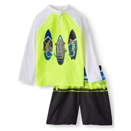 Check Swim Trunks (Boys' Long Sleeve Rash Guard and Swim Trunk, 2-Piece Outfit Set )