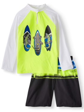 1c3e7bfdf Product Image Boys' Long Sleeve Rash Guard and Swim Trunk, 2-Piece Outfit  Set