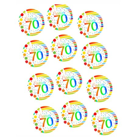 CakeSupplyShop ItemRE 071 Happy 70th Birthday 2inch Rainbow Edible Cupcake Cookie Frosting Image Toppers 12ct