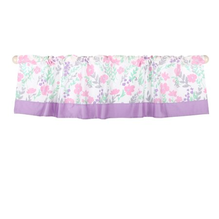 Mint Green And Pink (The Peanut Shell Window Valance - Pink and Mint Green Floral Print - 100% Cotton Sateen, 53 Inches Wide, 14 Inch)