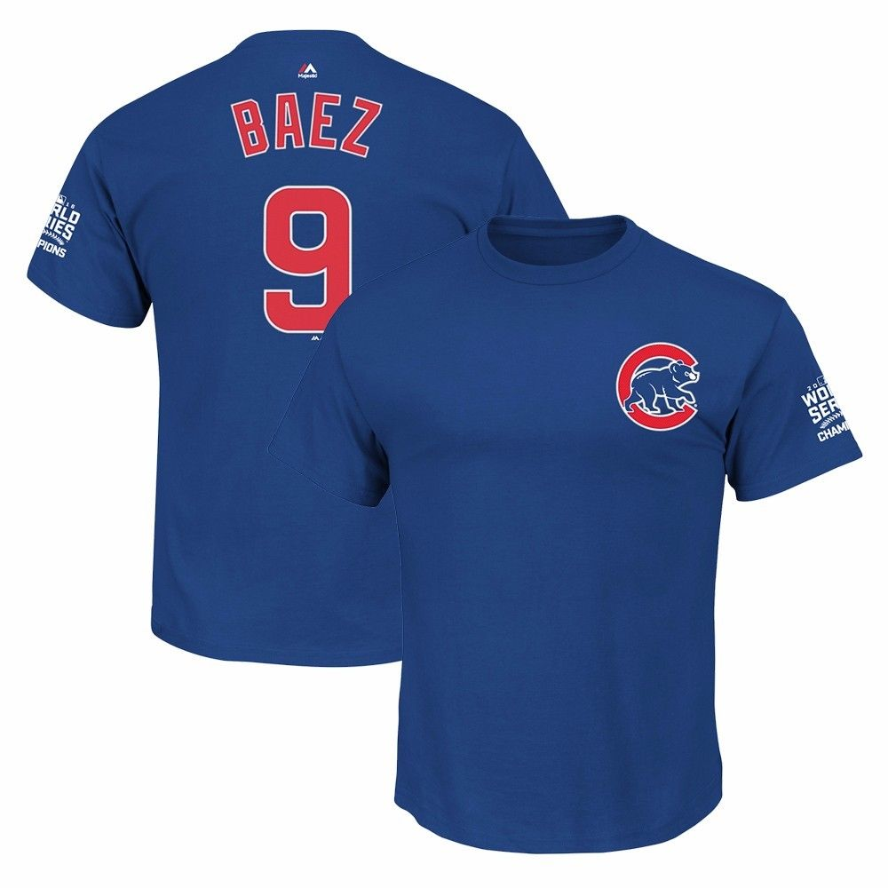Javier Baez Chicago Cubs MLB Majestic Men's Blue 2016 World Series Champions Jersey T-Shirt