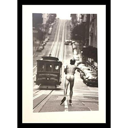 buyartforless FRAMED Racing The Trolley Car by Jack Gescheidt 27.5x19.75 Art Print Poster Photograph Naked Man San Francisco Gay Interest Humor Nude (Best Male Nude Photos)