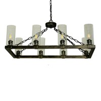 Canyon Home Kitchen Island Chandelier Light w/ Glass Lamp Shades (8 Bulb) Matte Black Steel, Adjustable Chain Length | Modern Home Décor