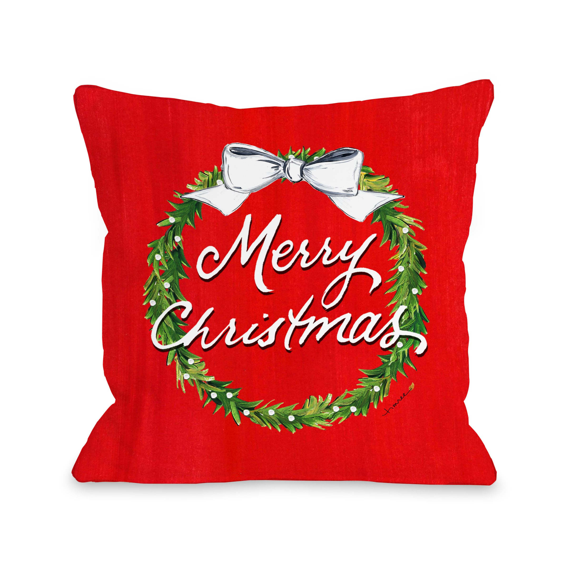 Merry Christmas Wreath - Red 18x18 Pillow by Timree Gold