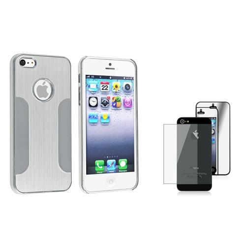INSTEN Silver Brushed Chrome Clip-on Hard Case for Apple iPhone 5 5s + 2-LCD Kit Mirror Protector
