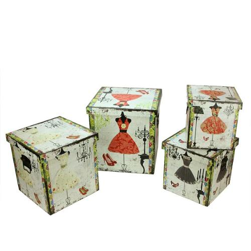 "Set of 4 Wooden Vintage-Style Fashion Dresses Decorative Storage Boxes 8-14"""